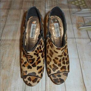 Steve Madden sz 8.5 leopard brown piney hair heel